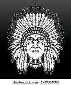 Monochrome native american illustration. Premium vector