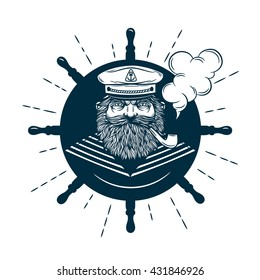 Monochrome nautical marine image and logos of captain with helm on background isolated vector illustration