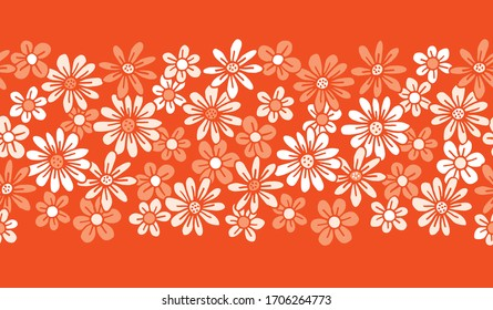 Monochrome Orange Hand Drawn Felt Tip Pen Daisies Background Floral Vector Seamless Horizontal Pattern Border. Cream Flowers Design. Bold Large Vintage Blooms Fashion, Textile Trendy Print