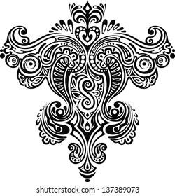 Monochrome ornament. Symmetrical monochrome floral ornament with elements.