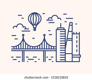Monochrome outline cityscape with skyscrapers, bridge and hot air balloon flying in the sky. Linear urban picturesque scenery isolated on white background. Modern european view. Vector illustration.
