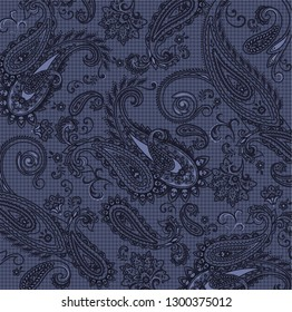 monochrome paisley pattern with vichy background