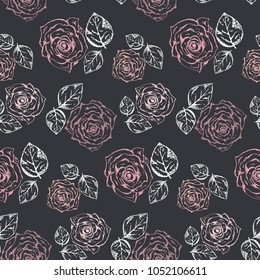 Monochrome pattern with accent pastel pink roses and white leaves on black background. Romantic retro gravure flowers and leaves texture for textile, wrapping paper, surface, wallpaper, background