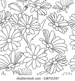 monochrome pattern flower daisy, isolated on white background vector