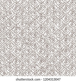 Monochrome pattern with a granular texture consisting of some lines and other geometric shapes. Decorative background. Vector illustration.
