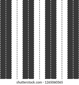 Monochrome pattern, with strips alternating in black and white, resulting from a graphics with lines and dashes oriented oblique. Textile fabric texture. Blanket. Vector illustration.