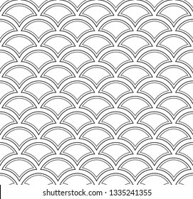 Monochrome peacock feather geometric arch motif. Allover folk vector pattern for adult colouring book, interior, fabric, apparel textile, phone case. Exotic bold line seamless print in black, white