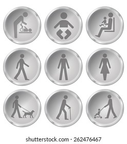 Monochrome people related icon set isolated on white background