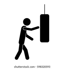 monochrome pictogram with man knocking punching bag vector illustration