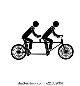 monochrome pictogram of men in tandem bicycle vector illustration