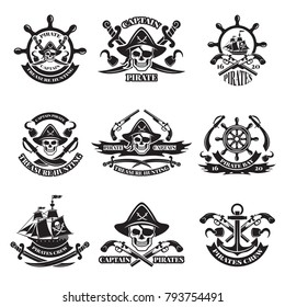 Monochrome pictures of pirate labels. Illustration of military ships, skull and guns. Skull and pirate ship emblem with weapon vector