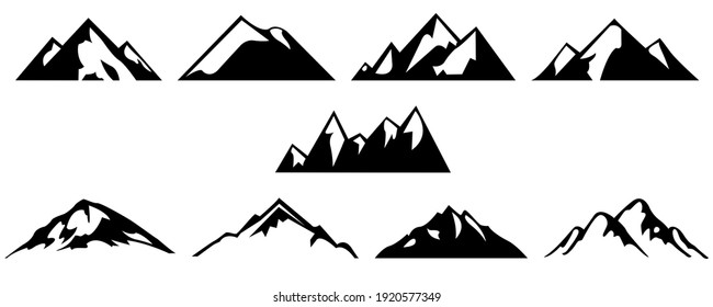 Monochrome pictures set of different mountains. collections for labels design. Mountain rock silhouette, volcano and hill stone illustration
