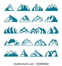 Monochrome pictures set of different mountains. Vector collections for labels design. Mountain rock silhouette, volcano and hill stone illustration
