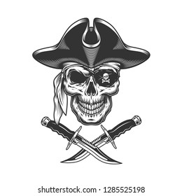 Monochrome pirate skull with eye patch and crossed knives in vintage style isolated vector illustration