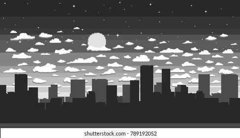 Monochrome pixel art game background with road, ground, sky, clouds, silhouette city, landscape, stars and moon.