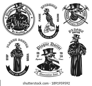Monochrome plague doctor in costume vector illustration set. Vintage ancient physician in overcoat and mask with beak shaped nose. Medicine and pandemic concept can be used for stickers and badges