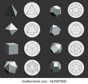 Monochrome platonic solids on dark background