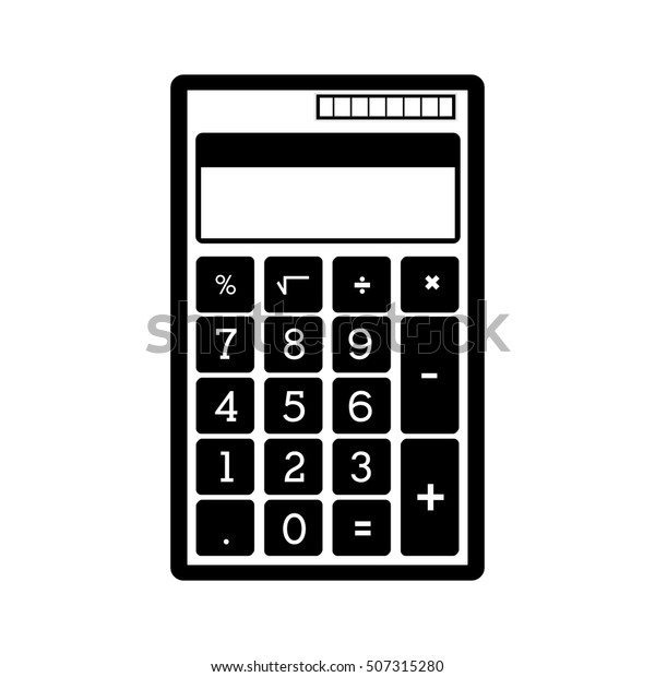 Monochrome Pocket Calculator Solar Panel Stock Vector