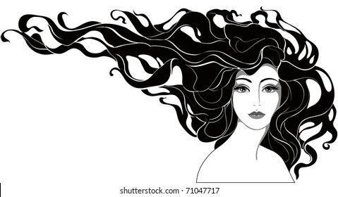 monochrome portrait of a woman with long hair