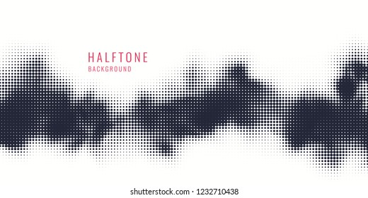 Monochrome printing raster. Abstract vector halftone background. Black and white texture of dots.