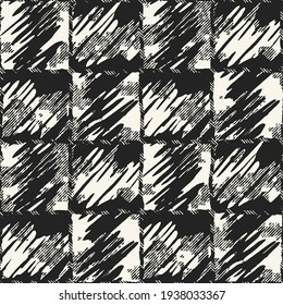 Monochrome Ragged Canvas Textured Distressed Checked Seamless Pattern