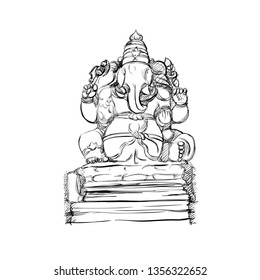 The Monochrome Realistic Sketch of a Sculpture of Ganesha. Freehand Drawing of the Hindy Deity. Black and White Vector Illustration. Traditional Indian Rligious Art. Stone Statue of Ganapati God.