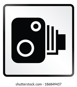 Monochrome road speed camera sign isolated on white background