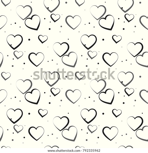 monochrome romantic seamless pattern polkadot heart stock vector royalty free 792335962 shutterstock