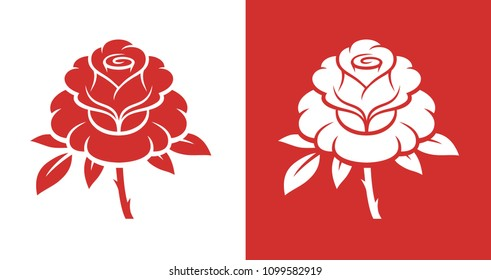 Monochrome rose flower illustration isolated on red and white backgrounds.