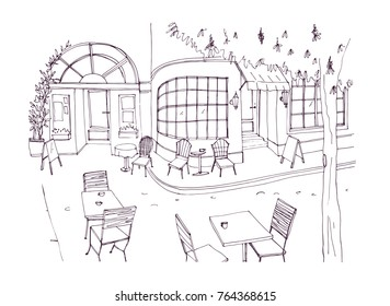 Monochrome rough sketch of european outdoor or sidewalk cafe, restaurant or coffeehouse with tables and chairs standing on city street. Vector illustration hand drawn in black and white colors.