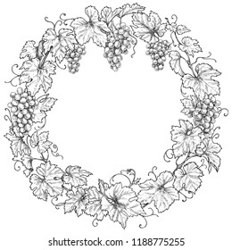 Monochrome round frame made with grapes branches and berries.  Hand drawn grape bunches and leaves. Black and white border with space for text. Vector sketch.