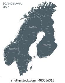 Monochrome Scandinavia map | Vector Scandinavia countries black map