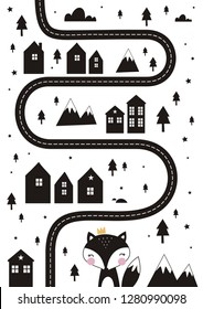Monochrome Scandinavian vector maze. Cartoon roads with house, tree and car for kids. Vector maze cartoon poster. You can use it to print on the carpet for the decor of the children's room.