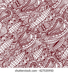 Monochrome seamless abstract of hand-drawn pattern, waves background