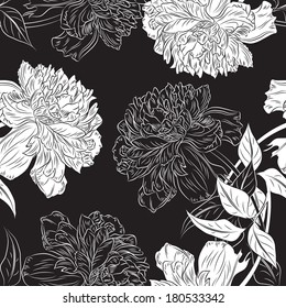 Monochrome seamless background hand drawn  peony flower.  Abstract vintage background with floral retro element. Vector illustration/EPS 8