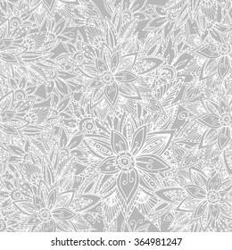 Monochrome seamless beautiful vintage flower  pattern