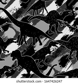 Monochrome Seamless Dino pattern, print for T-shirts, textiles, wrapping paper, web. Original design with t-rex,dinosaur. grunge design for boys .