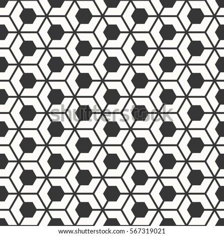 Monochrome Seamless Hexagonal Grid Pattern Stock Vector Royalty