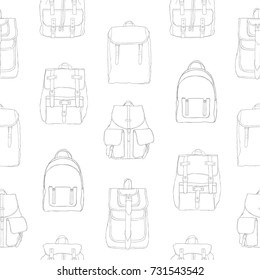 Monochrome seamless pattern with backpacks or rucksacks of different models.  Backdrop in black and white 70ed874a7103d