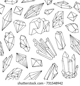 Monochrome seamless pattern with beautiful faceted gemstones, mineral crystals, precious natural stones hand drawn with black contour lines on white background. Vector illustration for textile print.