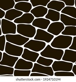 Monochrome seamless pattern with black stones. Stone wall.