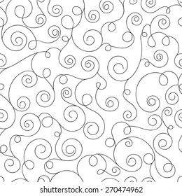 Monochrome seamless pattern with curls. Abstract background with hand drawn elements. Vector illustration