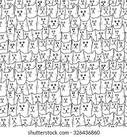 Monochrome seamless pattern with cute funny cats in cartoon style. Vector illustration for textile design, wallpaper, wrapping paper, web design, kids design etc.