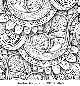 Monochrome Seamless Pattern with Ethnic Motifs. Endless Texture with Abstract Design Element. Art Deco, Paisley Garden Style. Coloring Book Page. Vector 3d Contour Illustration. Ornate Abstraction