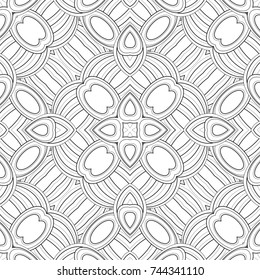 Monochrome Seamless Pattern with Ethnic Motifs. Endless Tribal Texture. Tile Background, Kaleidoscope. Coloring Book Page. Vector Contour Illustration. Abstract Mandala Art, Doodle Sketchy Style