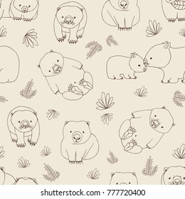 Monochrome seamless pattern with funny wombats and plants hand drawn with contour lines on light background. Backdrop with cute Australian endemic animals. Childish vector illustration for wallpaper.