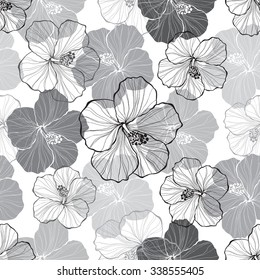 Monochrome  seamless pattern with hibiscus flowers.