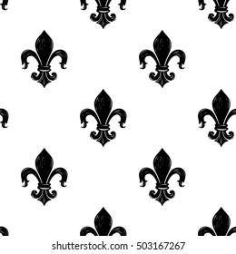 Monochrome seamless pattern with kingly flower. Royal signs in style of fashion illustration. Black and white vector background