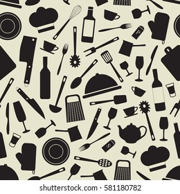 monochrome seamless pattern with kitchen items- vector illustration.