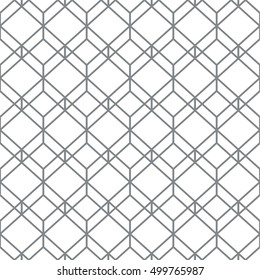 Monochrome seamless pattern. Modern stylish geometric texture with regularly repeating hexagons, rhombuses. Vector element of graphic design